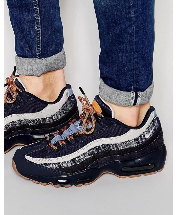 Chaussures Nike Air Max 95 Premium Bleu Blanc Gris