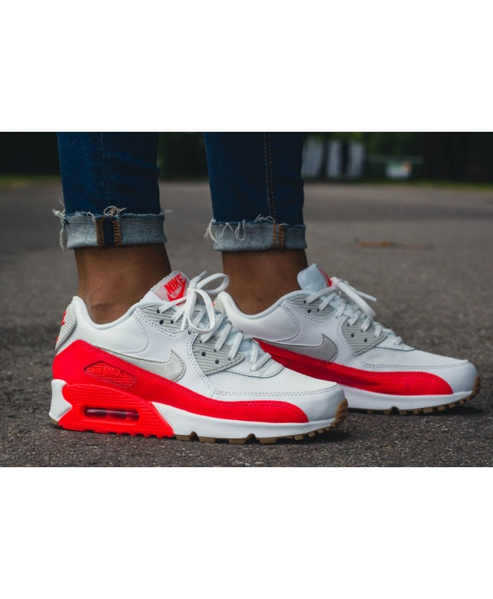 Femme Nike Air Max 90 Essential Blanc Bright Crimson