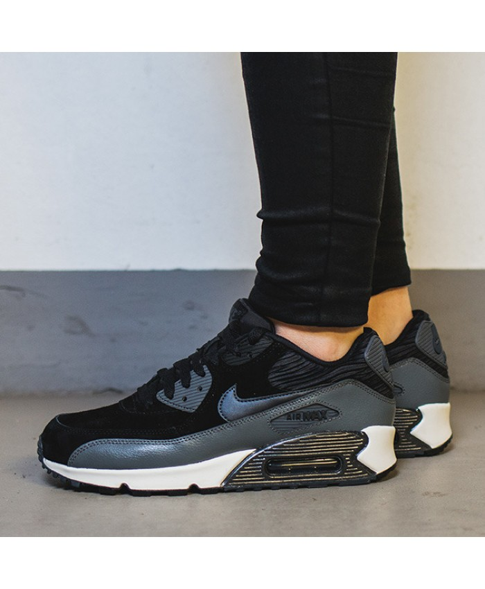 Femme Nike Air Max 90 Leather Noir Gris Blanc