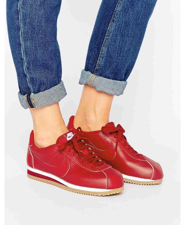 Femme Nike Classic Cortez Rouge Cuir et Gum Sole