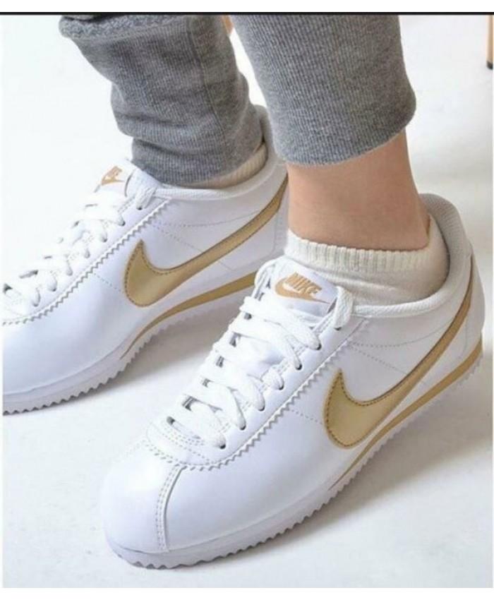 Femme Nike Cortez Blanc Or
