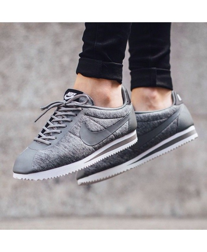 Femme Nike Cortez Fleece Pack Thumbled Gris Noir Blanc