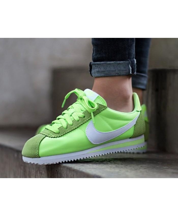 Femme Nike Cortez Nylo Vert Blanc