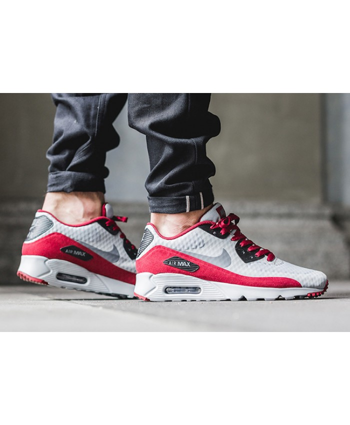 Homme Nike Air Max 90 Ultra Essential Gris Rouge