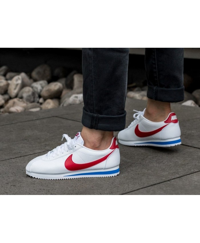 pretty nice 7abc4 bf5c7 ... where can i buy homme nike classic cortez cuir blanc rouge bleu 47dd6  54bbe