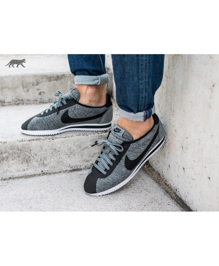 Homme Nike Classic Cortez Tumbled Gris Noir