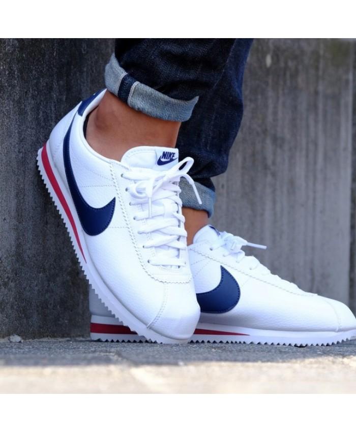 Homme Nike Cortez Blanc Bleu Rouge