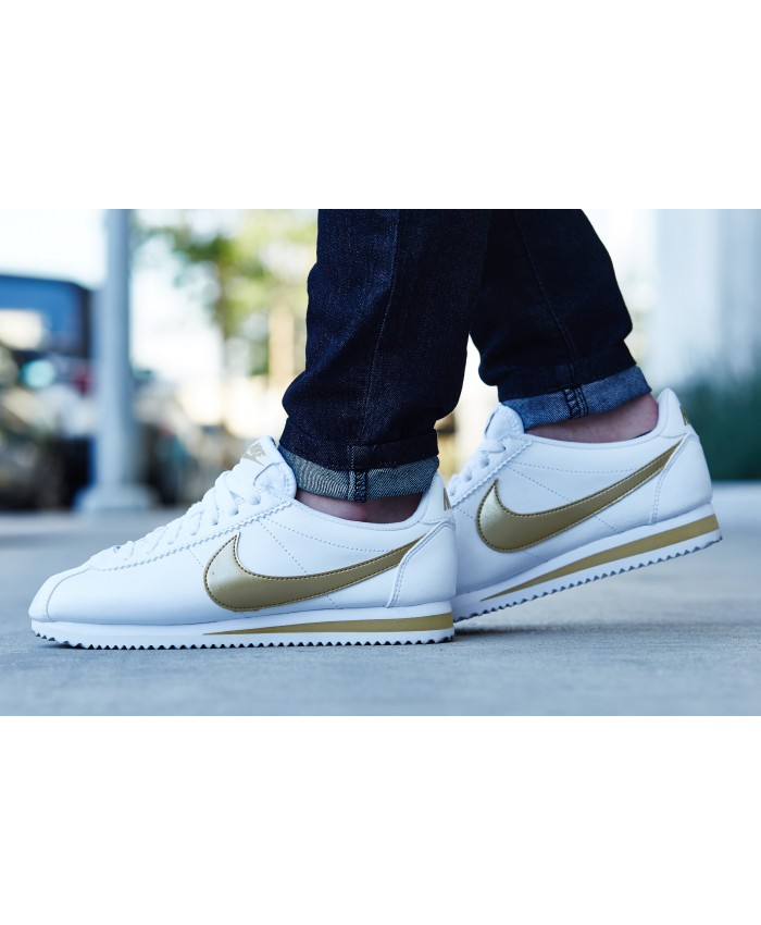 Homme Nike Cortez Blanc Or