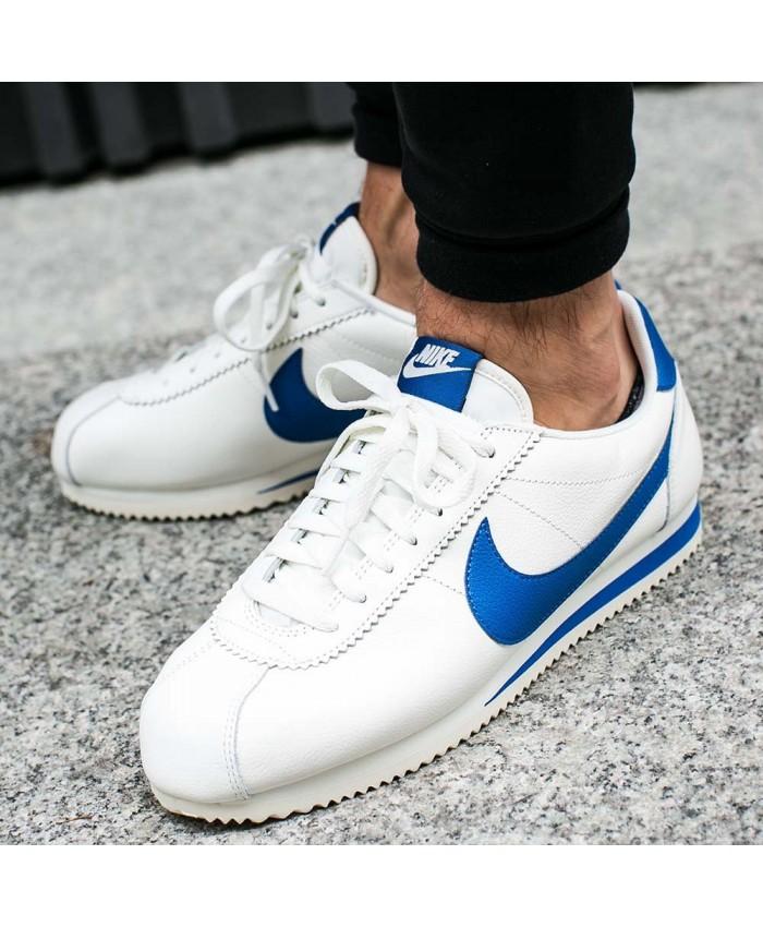 Homme Nike Cortez Cuir Blanc Bleu