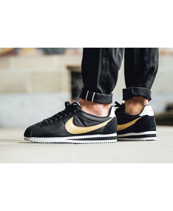 Homme Nike Cortez Noir Or Blanc