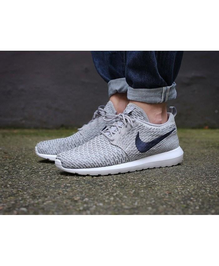 Homme Nike Roshe Flyknit Gris Bleu