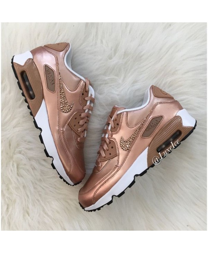 Nike Air Max 90 Se Leather Femme Rose Gold Cristaux de Swarovski