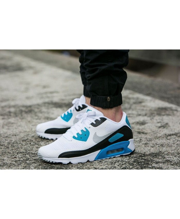 Nike Air Max 90 Ultra Essential Blanc Bleu Noir