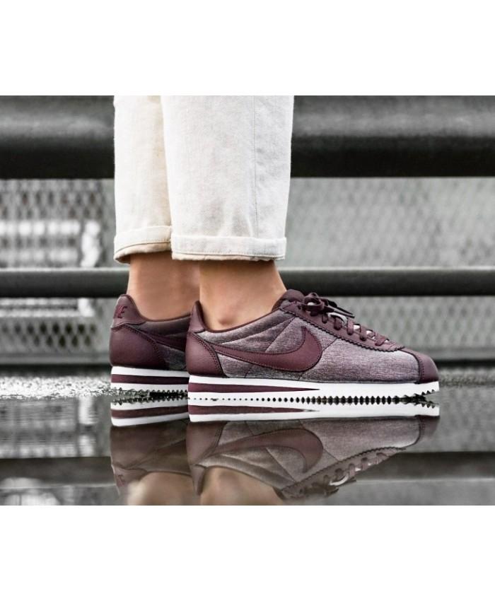 Nike Classic Cortez Premium Femme Métallique Mahogany Blanc