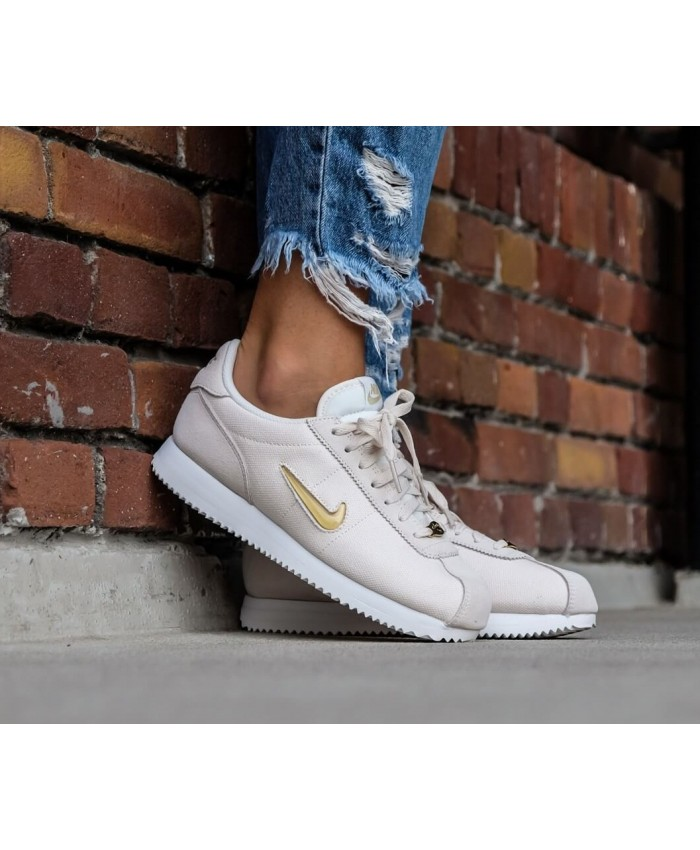 Nike Cortez Basic Jewel'18 Femme Blanc Or