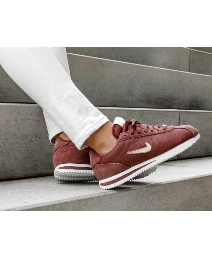 Nike Cortez Basic Jewel'18 Femme Rouge Blanc