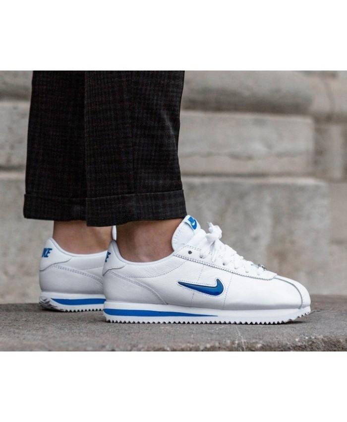 Nike Cortez Femme Basic Jewel'18 Blanc Bleu