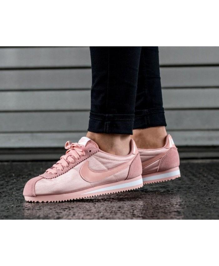 Nike Cortez Femme Nylon Rose Blanc