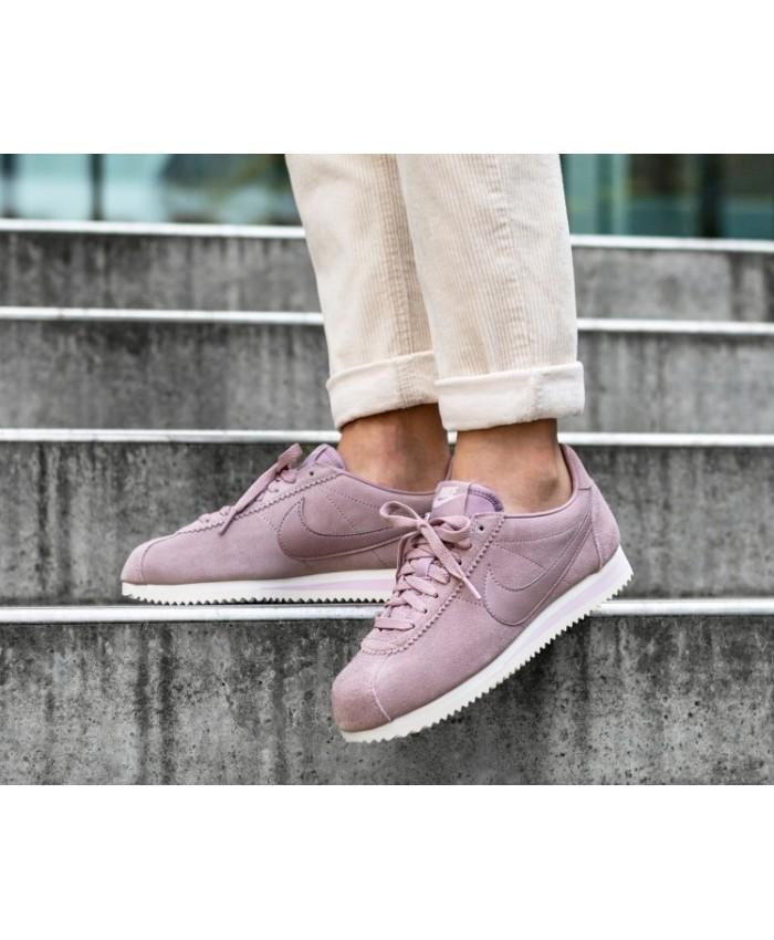 Nike Cortez Femme Suède Violet Blanc