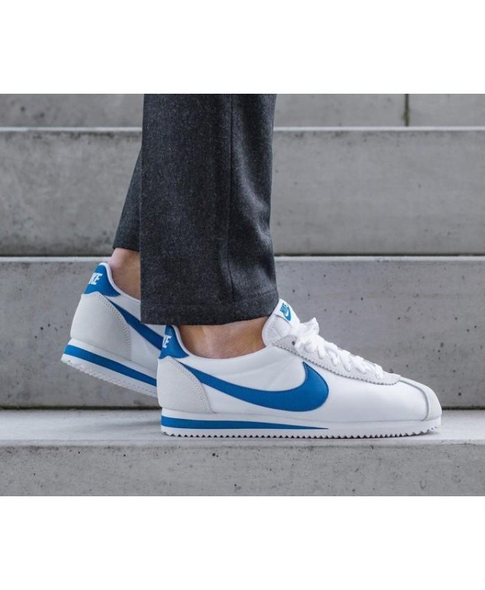 Nike Cortez Homme Nylon Blanc Bleu